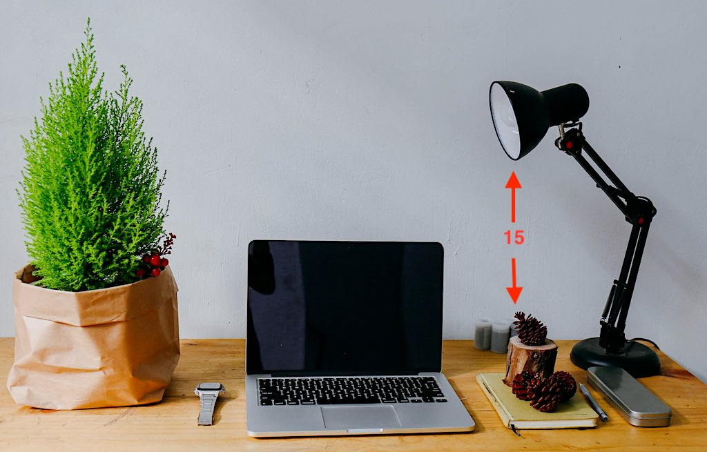 Where to put a desk lamp: 15-inch rule